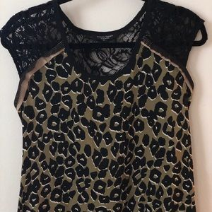 Olive leopard print and lace tank